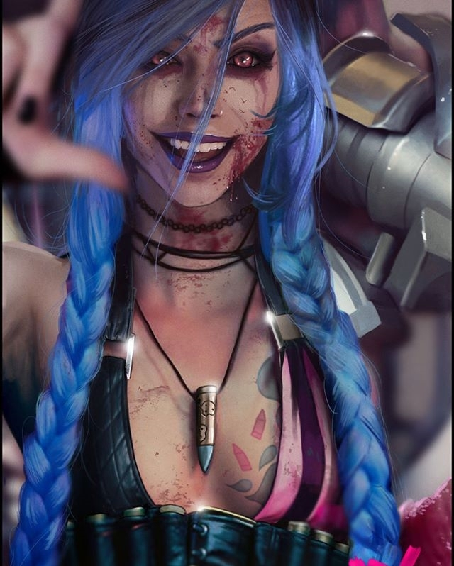 Shout out to Petri, an amazing artist. Follow him now. regram 📣 @peterpunkart Jinx Fanart. Bout 25hours work in it and maybe need some more adjusting.  Support: https://www.gofundme.com/2rh9a79p and https://www.patreon.com/Peterpunk