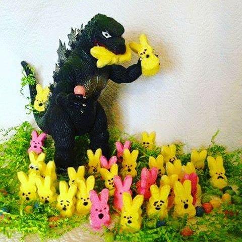 Rawr! Uaaaa! Easter bunnies! #godzilla #Easter #carnage