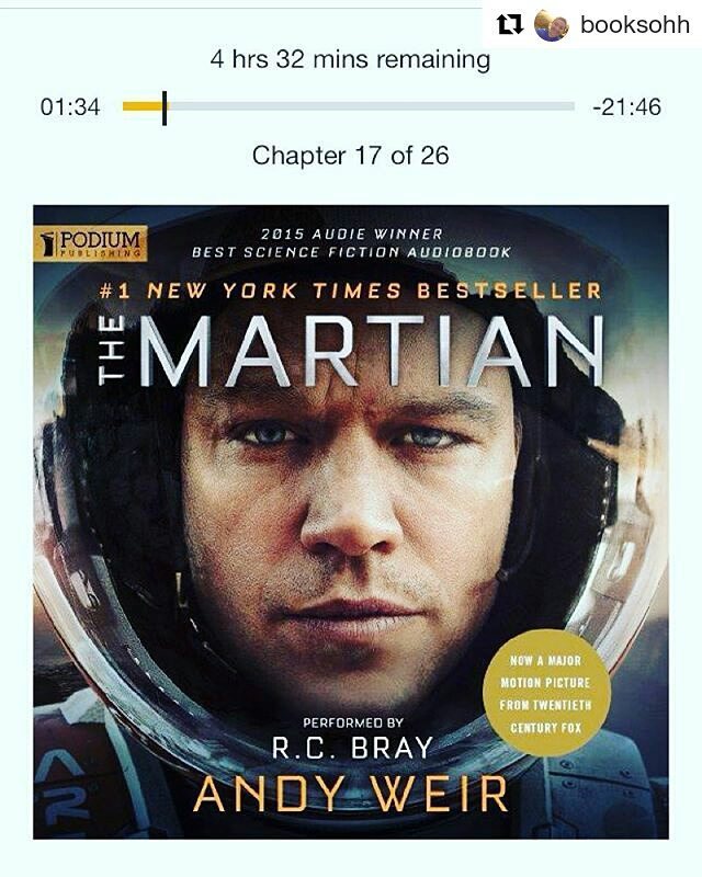 Rereading The Martian. The audio version rocks.  #Repost @booksohh ・・・ oh hey mark watney  I caved and watched the movie while halfway through this but I'm still so excited to listen to the rest – the narrator is amazing btw 🚀  #audible #themartian #andyweir #markwatney #mars #themartianbook #bookstagram #bookworm #booklion #booklover #books