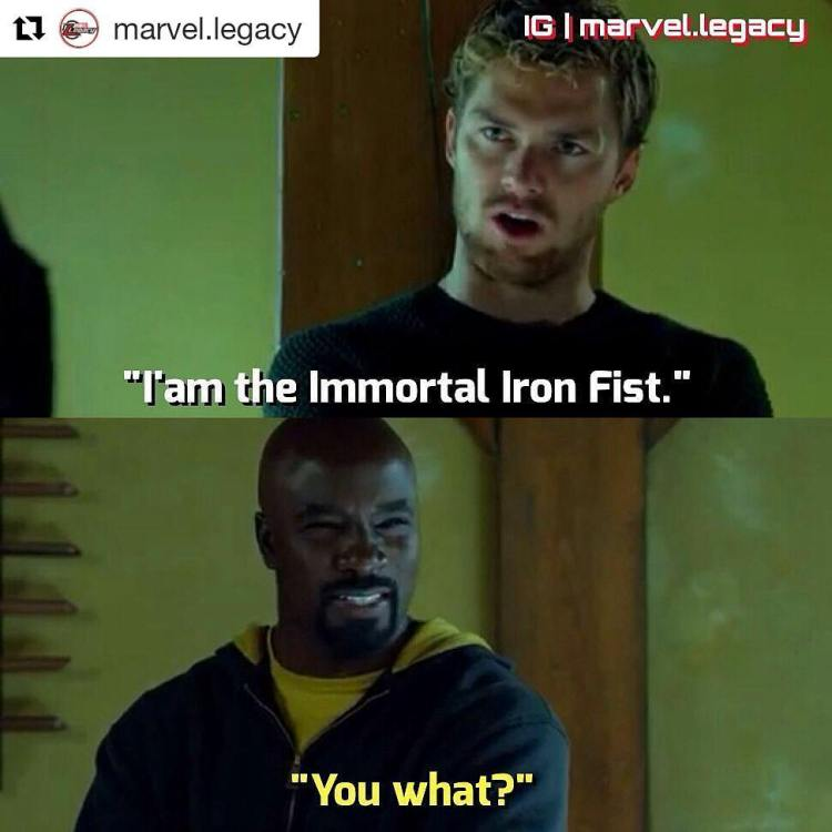 Yes! Suck it, Iron Fist. I loved the beat down Luke Cage gave him in the trailer. And even when he managed a punch, it was with his ultimate glowy hand and he barely moved the guy. I like Cage 1000x more now.  Repost @marvel.legacy ・・・ Immortal Iron Fist. =-=-=-=-=-=-=-=-=-=-=-= Welcome to my page! @marvel.legacy ========= ✔ Partners (5/10): @memeloaft @anime.fy @go.power.rangers @marvelheadquaters @dc_heroez ========= ✔ I post daily Marvel Pics! ========= ✔ Don't forget to double tap the pic! ========= ✔ Feel free to follow! ========= Ignore Tags #marvelcomics #movie #justiceleague #suicidesquad #thedefenders #ironman #civilwar #spiderman #epic #cool #ironfist #xmen #lukecage #deadpool #picoftheday #defenders #followme #art #artwork #amazing #daredevil #jessicajones #hulk #dope #marvel3 #comicbooks #avengersinfinitywar #spidermanhomecoming #captainamerica