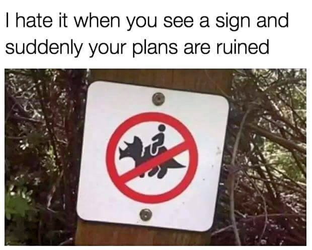 Oh come on, I can't ride my triceratops there? Bummer. #dinosaur #sign #lol