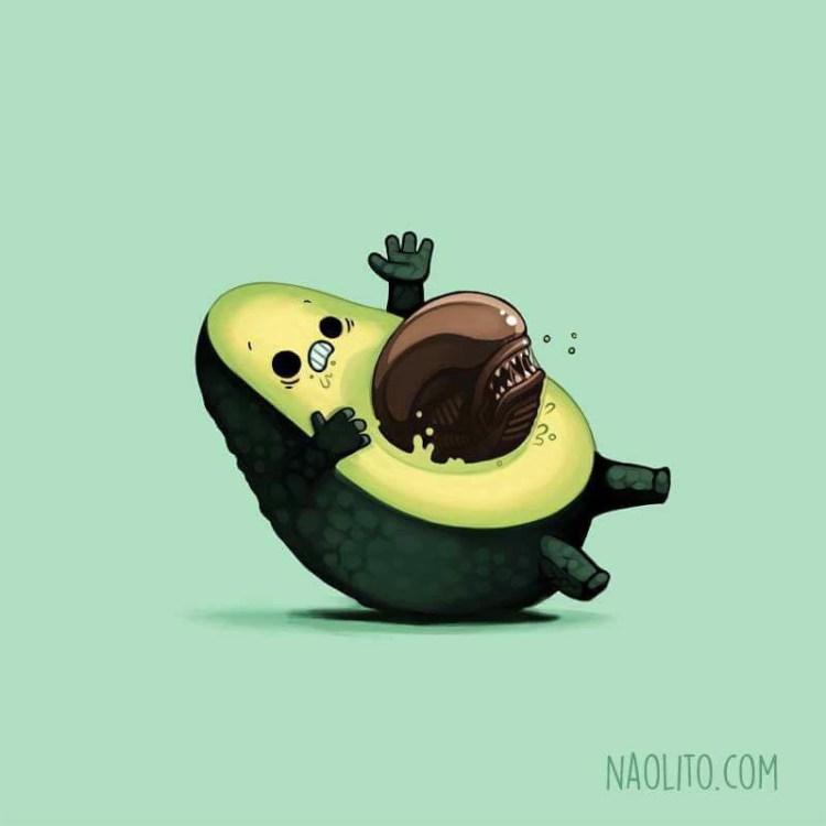 Die, vegan avocado, die. #lol #chestbuster #alien #avocado #vegan