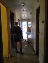 Ella works in the hallway.