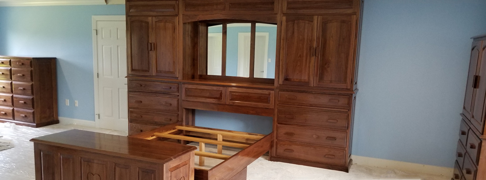 custom design and flexibility Walnut wall unit headboard constructed from Solid hardwood and handcrafted by one craftsman
