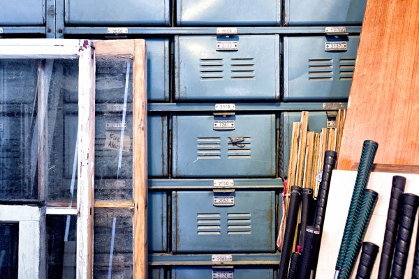 Blue Lockers filled with hardware