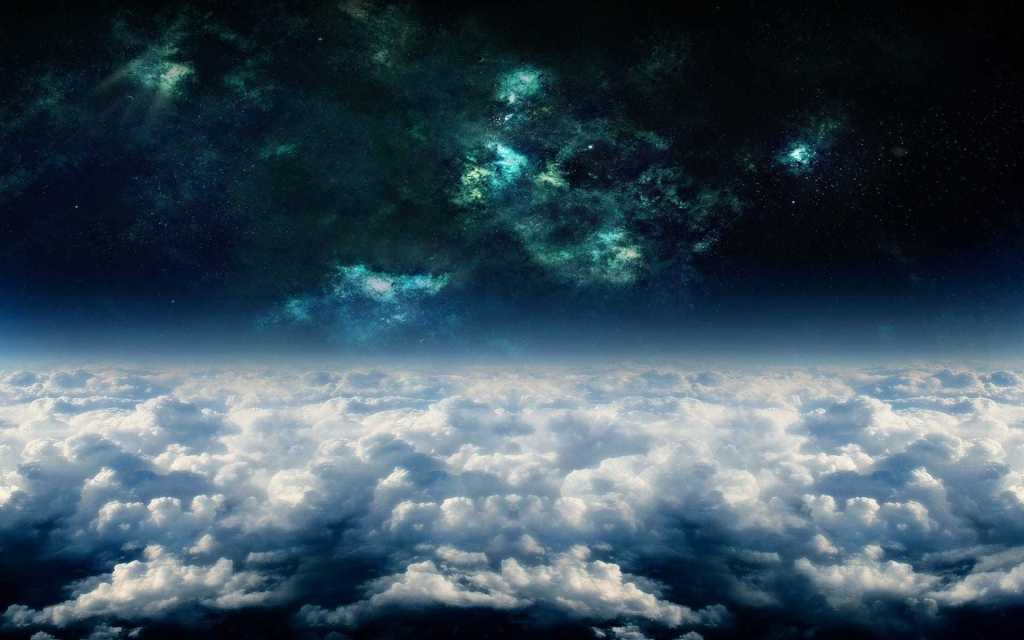 Journey through worlds background, with white clouds and dark space and nebula