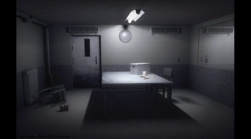 Interrogation room with a light above a table, and one damaged chair on the floor