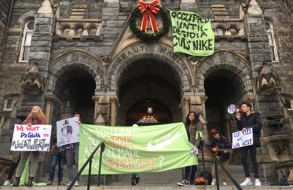 Students rush President DeGioia's office to protest Nike