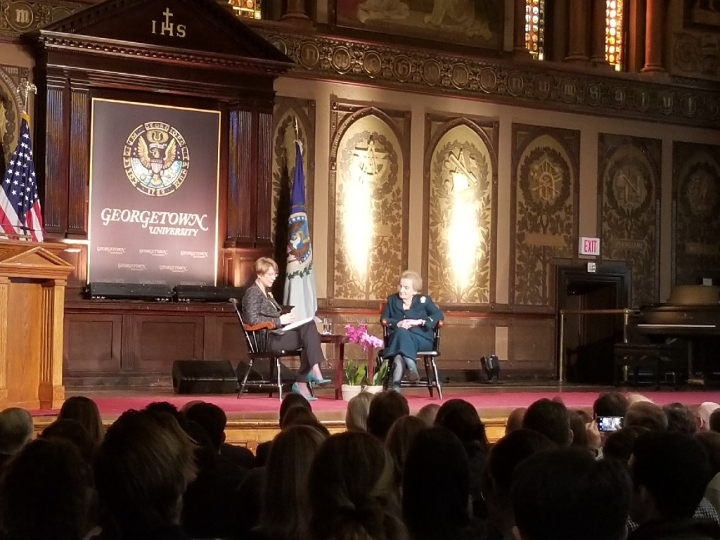 Albright receives Georgetown award for diplomatic career