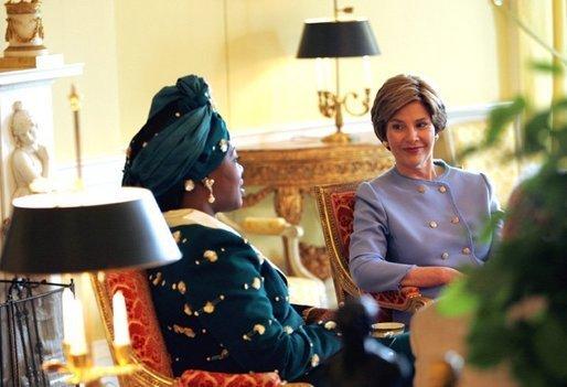 Laura Bush meets with Edith Lucie Bongo Ondimba First