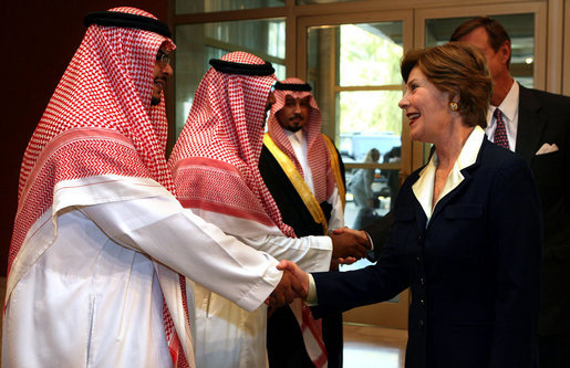 Mrs. Laura Bush is greeted by Mr. Bade Al-Romaih, Guest Relations Manager for the Conference Palace Hotel, upon her arrival for a private lunch Tuesday, Oct. 23, 2007, in Riyadh, Saudi Arabia. White House photo by Shealah Craighead