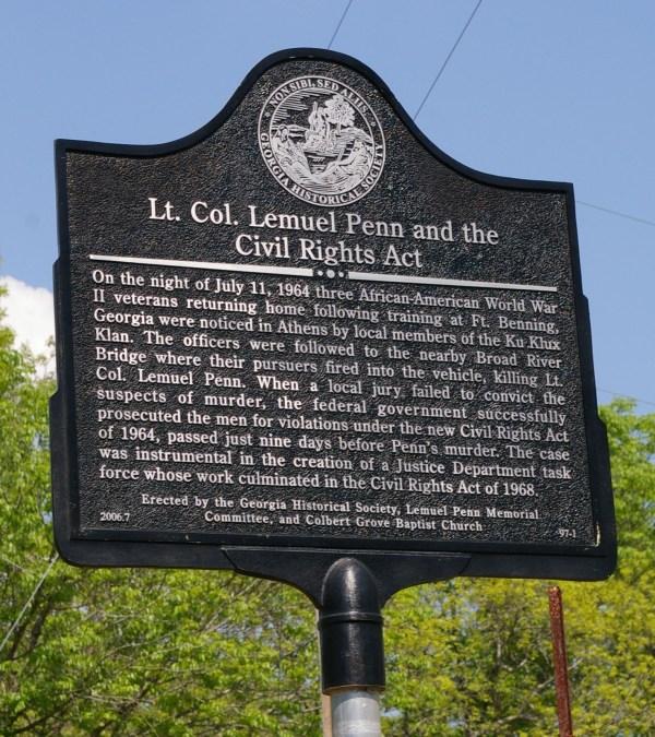 Lt. . Lemuel Penn And Civil Rights Act Georgia Historical Society