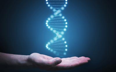 Blue DNA Strand