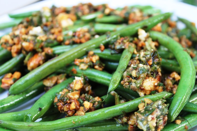 green beans with almond feta dressing