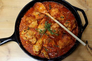 roasted chicken in romesco sauce