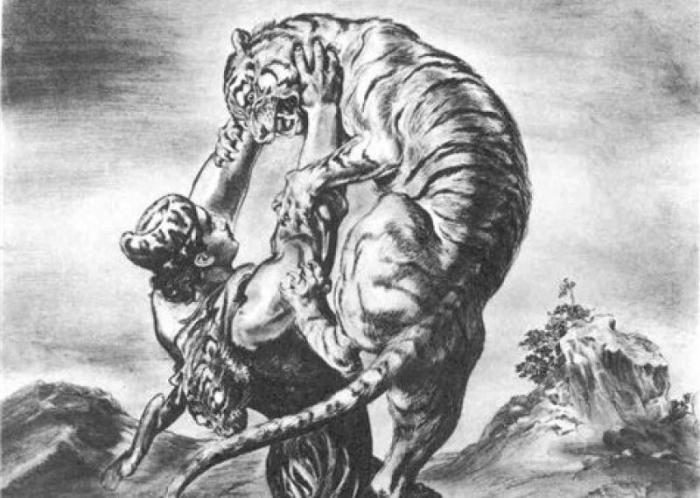 Man wrestling with a tiger while wearing panther skin for clothing