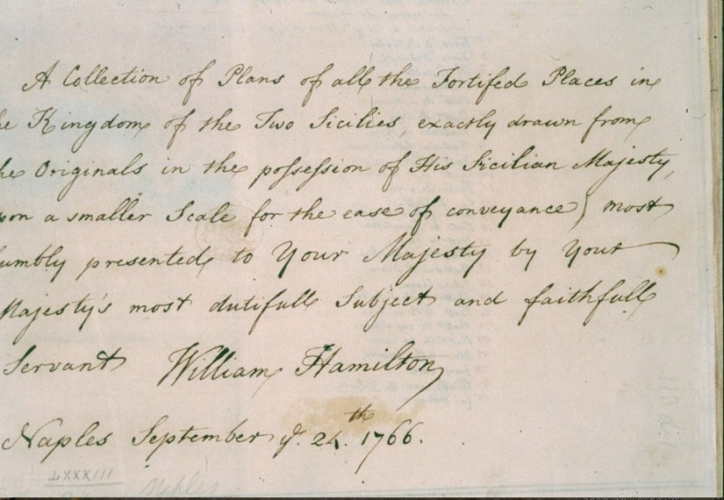 Autograph dedication to George III by Sir William Hamilton, 1766