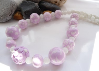 Polymer Clay pink & white necklace
