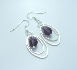 Silver Plated crystal drop earrings