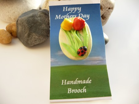 Polymer Clay Mothers Day Brooch - Tulips