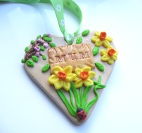 Polymer Clay Mothers Day Heart - Spring