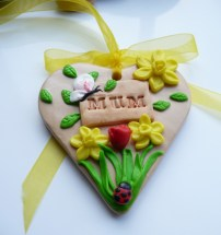 Polymer Clay Mothers Day Heart - Spring flowers