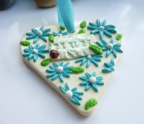 Polymer Clay Mothers Day Heart - Blue flowers
