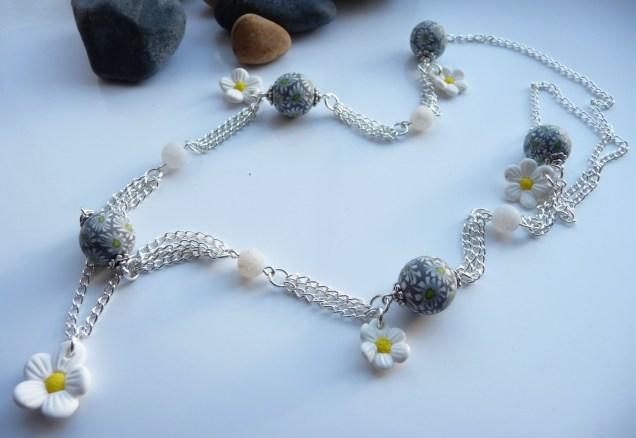 Georgia P Designs Polymer Clay Daisy Beaded necklace