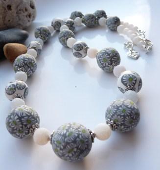 Polymer Clay Daisy Flower bead necklace
