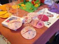 Felt coasters for your wine glasses, saves those spills!