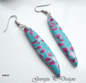 Ref E108-03 Blue & pink flower dagger earrings v1