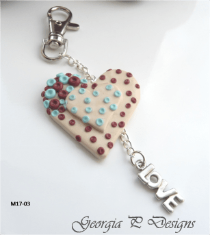 Polymer Clay heart Bag Charm/Keyring