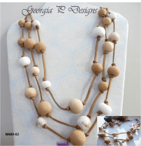 Polymer Clay neutral mix 3 strand necklace