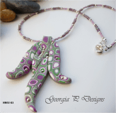Polymer Clay orchid pendant necklace