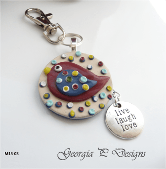 Polymer Clay Bird Bag Charm/Key Ring