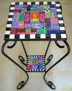 Polymer clay covered table by Laurie Mika