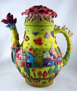Polymer clay covered Teapot by Yehudit Yitzhaki