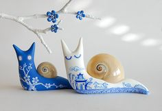 Polymer clay Tattooed Snails by JooJoo
