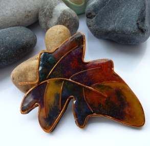 Polymer Clay & Wire Autumn Leaf with copper wire and acrylic paint