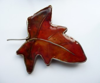 Polymer Clear Autumn Leaf with silver wire and acrylic paint