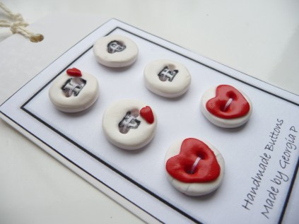Polymer clay Love buttons