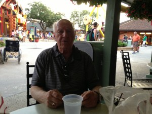 Senior Rambler happy with his sandwich at the Earl's