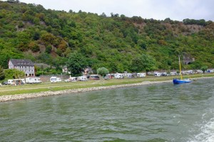 Crowded campground along side the Rhine. It was vacation time in this part of Germany