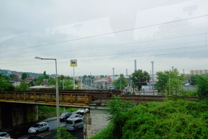 A rusting railroad bridge and abandoned factories aw we neared Budapest.