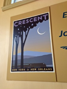 A romantic poster from the heyday of travel which hung inside the station.