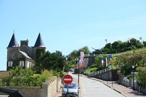 Here is the road our bus drive took through Arromanches-les--bains where the British troops landed.