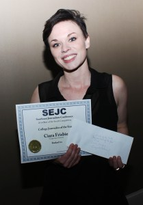 The Signal News Editor Ciara Frisbie wins the top award of College Journalist of the Year at the 2015 Southeast Journalism Conference and received $1,000 in conjunction. | Photo Illustration by Jade Johnson