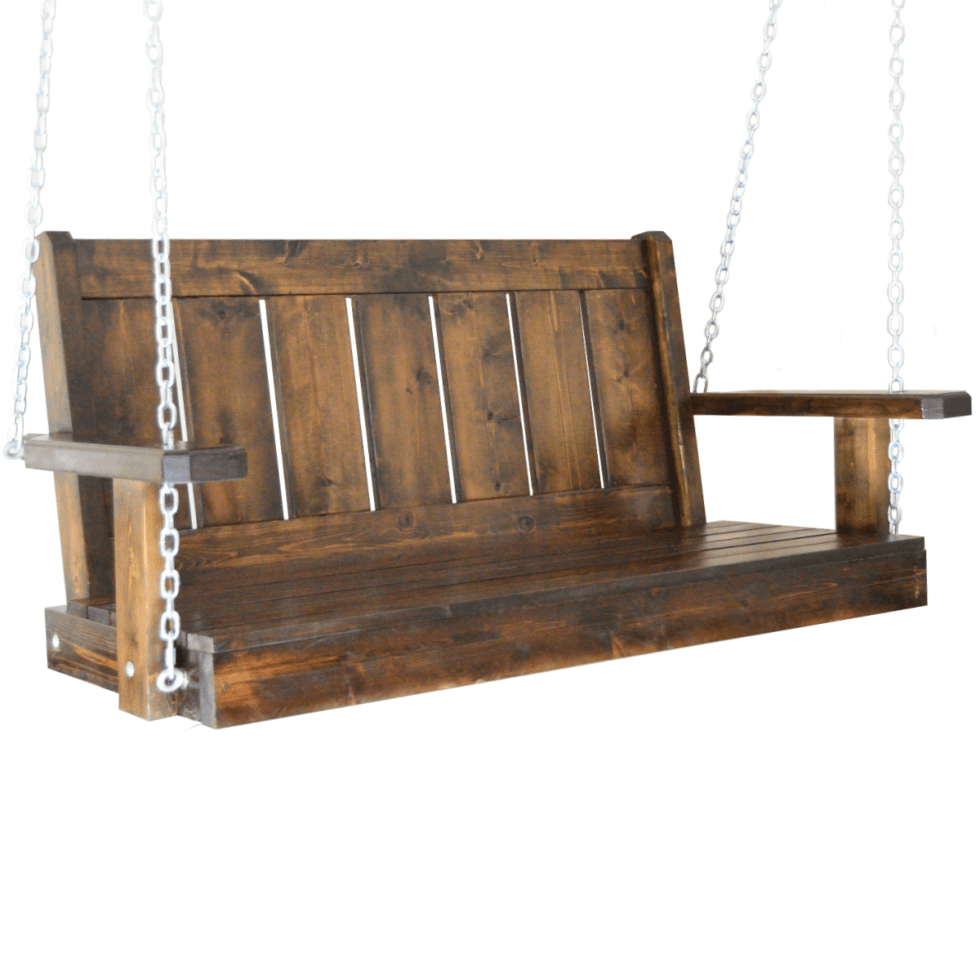 decatur porch swing brown stain