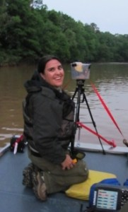 Wildlife biologist Trina Morris with the anabat on the Chattahoochee River.