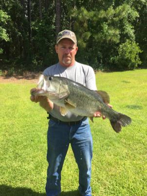 Lanny Carter caught this giant 11-lb., 9-oz. bass on a blue/chrome Rat-L-trap from a Bacon County pond.